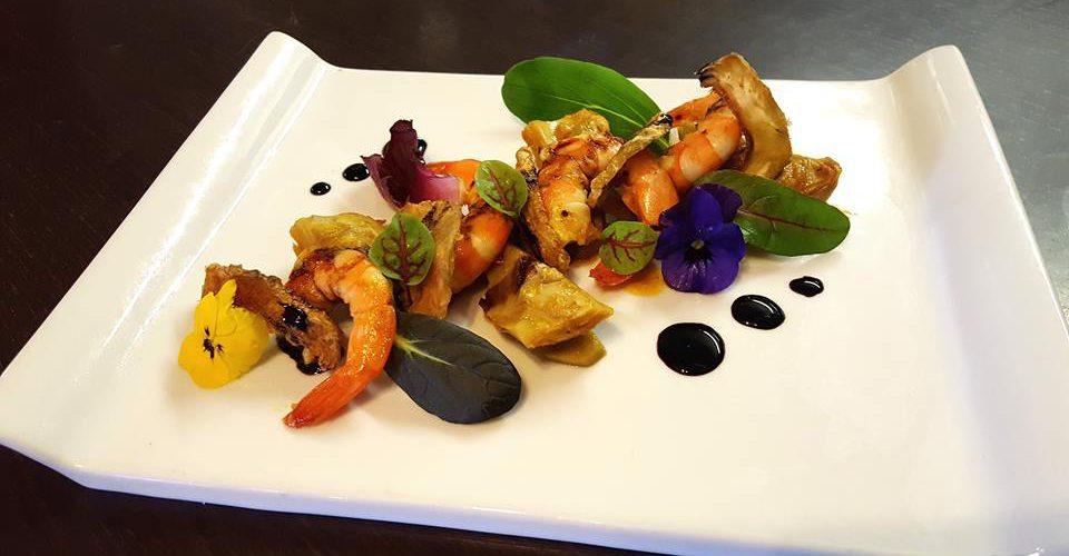 Crevettes aux artichauts, réduction balsamique